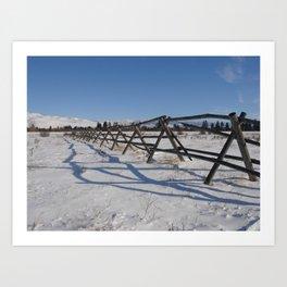 #406 bitterroot barn fence 1 6 14 Art Print