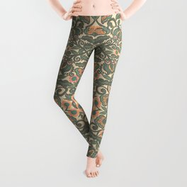 Green Vines Folk Art Flowers Pattern Leggings