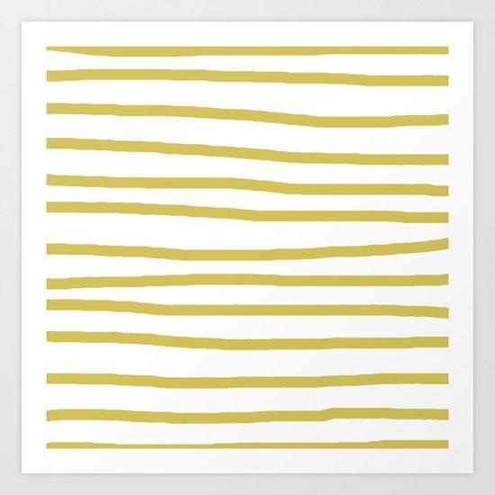 Simply Drawn Stripes Mod Yellow on White Art Print