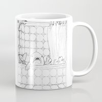 bathroom Mugs featuring The Bathroom Monologue by Shany Atzmon