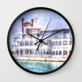 New Orleans Paddle Steamer Art Wall Clock