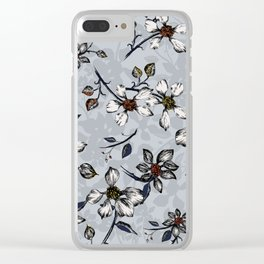 Botanical Pattern on Grey Background Clear iPhone Case