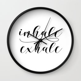 Inhale Exhale print, Black and white print, Gift For Her, Typography Print, Office Wall Art, Minimal Wall Clock