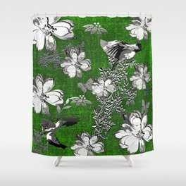 Birds Green Gray White Toile Shower Curtain