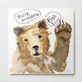 High Five Bear Metal Print