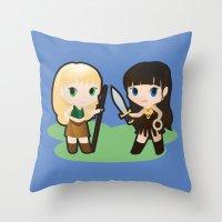 xena Throw Pillows featuring Geek Babies: Xena & Gabrielle by Deanna Marie: Art & Design