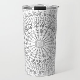 Light Grey White Mandala Travel Mug