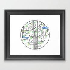 happy tree (black and green) Framed Art Print