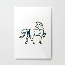 Horse Prancing Rear View Retro Metal Print