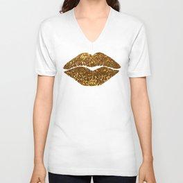 Gold Sparkle Kissing Lips Unisex V-Neck