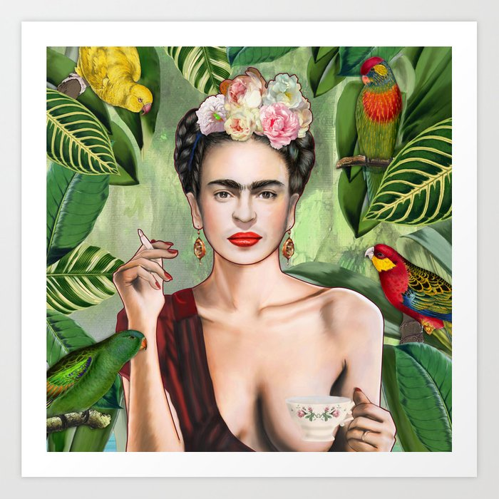 Frida con Amigos Kunstdrucke