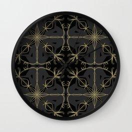 Abstract Meditation Pattern on Black Wall Clock