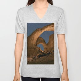 Double Arch And The Milky Way - Arches National Park - Moab, Utah. Unisex V-Neck