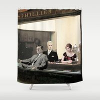 mad men Shower Curtains featuring mad men characters are Hopper's Nighthawks by Magdalena Almero
