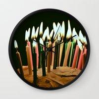 happy birthday Wall Clocks featuring Happy Birthday by Thomas Eppolito