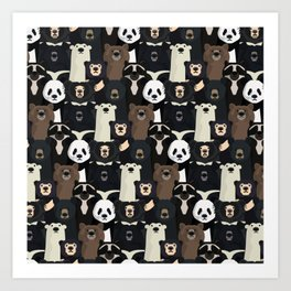 Bears of the world pattern Art Print
