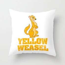 """Yellow Weasel"" T-shirt Design Dangerous To Humans With Sharp Claws And Teeth Predator Mammals Throw Pillow"