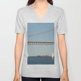 Lisbon bridge Unisex V-Neck