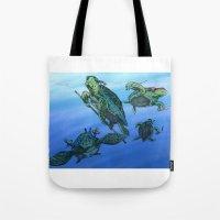 ninja turtles Tote Bags featuring Ninja Turtles by MrDenmac