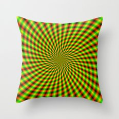 Spiral Rays in Yellow Green and Red Throw Pillow