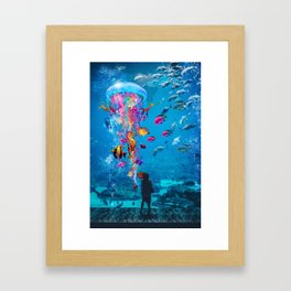 Electric Jellyfish in a Aquarium Framed Art Print