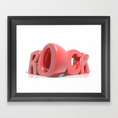 Rock in red letters on white background Framed Art Print