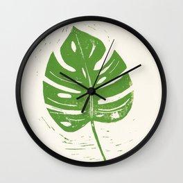Linocut Leaf Wall Clock