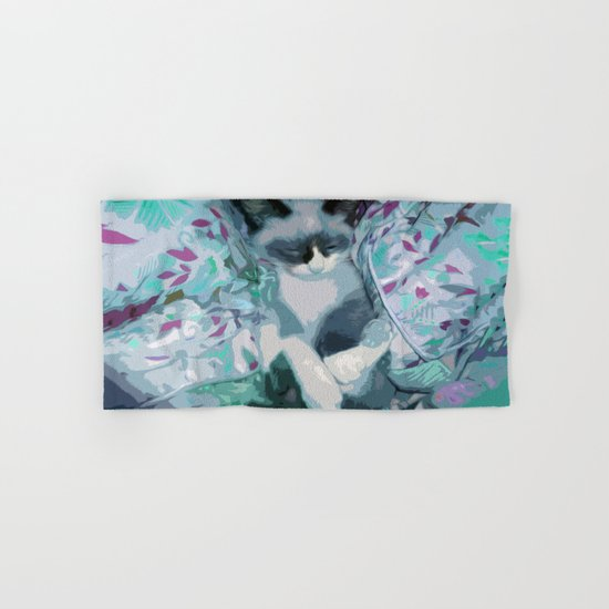 Nestled Kitten in Comforter Cloud Hand & Bath Towel