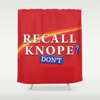 leslie knope Shower Curtains featuring Recall Knope by BovaArt