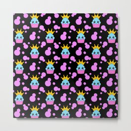 Little princess baby kawaii cupcakes, bold pink retro dots girly seamless nursery pattern design. Metal Print