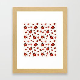 LOVING RED LADY BUGS  ON WHITE COLOR DESIGN ART Framed Art Print