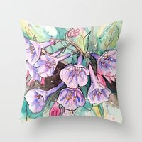 virginia Throw Pillows featuring virginia bluebells by Beth Jorgensen