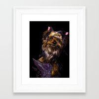 yorkie Framed Art Prints featuring Yorkie Terrier by Eliza Leahy