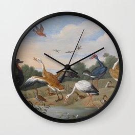 Jan van Kessel , Reiher und Enten, birds Wall Clock
