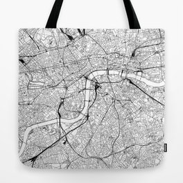 London White Map Tote Bag