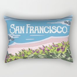 San Francisco, California Beach Succulents Illustration Rectangular Pillow