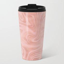 Elegant Rose Gold Pink Metallic with Marble Abstract Pattern Metal Travel Mug