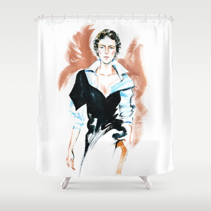 fashion #6. girl in a white shirt and black dress Shower Curtain