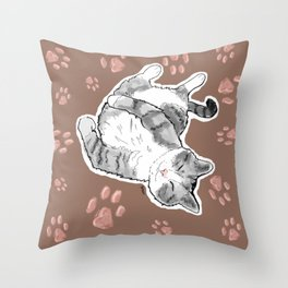 Petoux the Cat, Patterned Throw Pillow