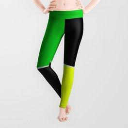 greenblack yellow squares  geometric pattern Leggings