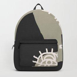 Abstract Minimal Face 06 - Modern Boho Line Art Drawing Illustration Shapes Backpack