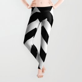 BLACK AND WHITE CHEVRON PATTERN - THICK LINED ZIG ZAG Leggings