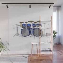 Blue Drum Kit Wall Mural
