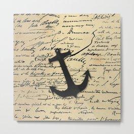 Vintage gray retro nautical anchor marine paper Metal Print