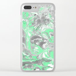 Light green and gray Marble texture acrylic paint art Clear iPhone Case