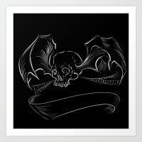 Skull Bat digital design/ with custom banner Art Print