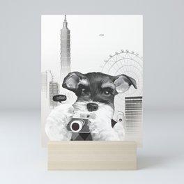 Schnauzer with Camera Mini Art Print
