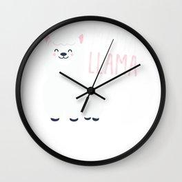 Mama Llama Cute Best Gift For Animal Llama Lover Wall Clock