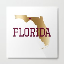 Florida Gold and Garnet with State Capital Typography Metal Print