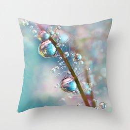 Rainbow Blue Smokey Drops Throw Pillow